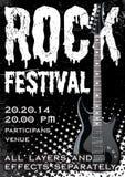 Rock festival design template. With guitar Stock Photos