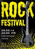 Rock festival design template. With guitar Royalty Free Stock Photos