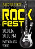 Rock festival design template. With guitar microphone Stock Photography