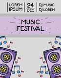 Rock festival event music concert. Vector illustration Royalty Free Stock Photography
