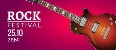 Rock festival flyer event design template with guitar. Rock banner brochure invitation.  Stock Image
