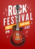 Rock festival flyer event design template with guitar.  Stock Images