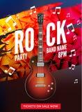 Rock festival flyer event design template. Guitar rock vector poster music band.  Stock Photos