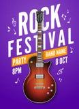 Rock festival flyer event design template. Guitar rock vector poster music band.  Royalty Free Stock Photos