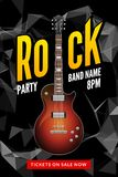 Rock festival flyer event design template. Guitar vector poster music band.  Royalty Free Stock Image