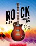 Rock festival flyer event design template. Guitar vector poster music band.  Stock Images