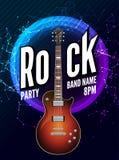 Rock festival flyer event design template. Guitar vector poster rock music band.  Stock Images