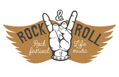 Rock festival. Human hand with rock and roll sign on background Royalty Free Stock Images