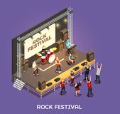 Rock Festival Isometric Composition. On purple background with musicians on stage, concert equipment, admirers vector illustration Stock Images