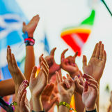 Rock festival. People cheering at rock festival Royalty Free Stock Photos
