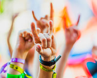 Rock festival. People cheering at rock festival Stock Photography