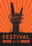 Rock Festival Poster with a guitar. Template of a music poster with a guitar riff and human hand. Rock music background Royalty Free Stock Image
