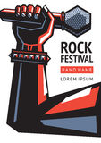 Rock festival poster with microphone. Template of a poster for a music festival. Illustration of a hand with a microphone Stock Photos
