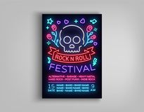Rock festival poster in neon style. Neon sign, an invitation to the concert brochure on roknrol music, bright light. Banner, flyer for festivals, parties and Stock Image