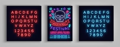 Rock festival poster in neon style. Neon sign, invitation to the concert brochure on roknroll music, bright banner. Flyer for festivals, parties, concerts Stock Images