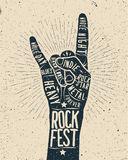 Rock Festival poster. Rock and roll hand sign. Rock Festival poster, flyer. Rock and roll hand sign Royalty Free Stock Images