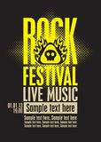 Rock festival. Poster for a rock festival with skull on fire Stock Image