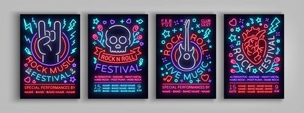 Rock Festival set of posters in neon style. Collection neon sign, an invitation to the concert brochure on roknrol music. Bright banner, flyer for festivals Stock Photography