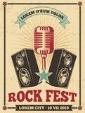 Rock festival vintage vector poster. Rock and roll concert retro background. Banner festival concert, musical heavy illustration royalty free illustration