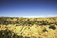 Rock field at Joshua Tree national park. Rock formation of various shapes and sizes are found there Stock Images
