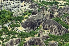 Rock field. Nature of green and rock forest Royalty Free Stock Image