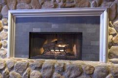 Rock fireplace royalty free stock photos