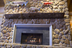 Rock fireplace Royalty Free Stock Images