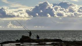Rock Fishing Cadiz Spain stock photo
