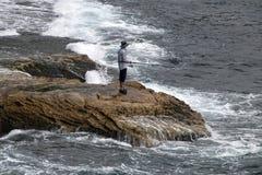 Rock fishing near Bondi beach royalty free stock photo
