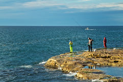 Rock fishing in Sydney Royalty Free Stock Images
