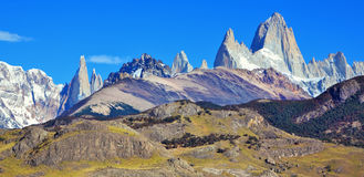 The rock Fitz Roy peaks in the Andes. Stock Photos