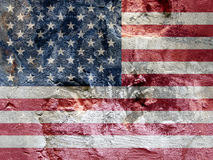 Rock flag of United States. With stars, red and white lines Stock Photography