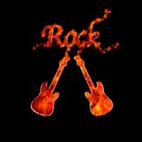 Rock flame. Illustration with a guitar flame on black background Royalty Free Stock Photography
