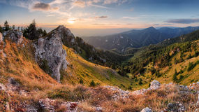 Rock and forest at autumn in Slovakia Royalty Free Stock Photography