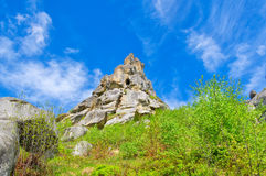 Rock in the form of a pyramid. Tustan fortress. Ukraine royalty free stock photo