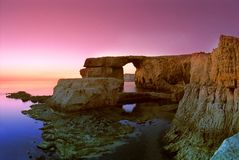 Rock formation. At sunset, Dwejra, Island of Gozo, Malta, Europe Royalty Free Stock Photos