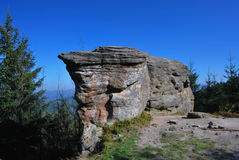 Rock formation on Kyrkawica hill in Beskid Slaski mountains Royalty Free Stock Photo