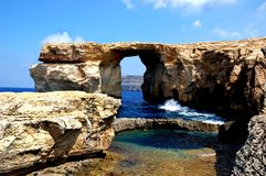 Rock formation. By ocean in Malta Royalty Free Stock Photo