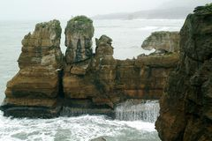 Rock formation. Off the coast of New Zealand royalty free stock photos