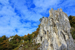 Rock formation in Altmuehltal nature park. The bizarre rock formation in the valley of Altmühl at Dollnstein, Bavaria, Germany Royalty Free Stock Photography