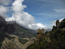 Rock Formation in the Annapurna Himalayas Royalty Free Stock Photo