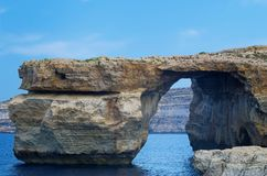 Rock formation on Maltese island of Gozo - so-called Azure Window. Rock formation `Azure Window` on Maltese island of Gozo. This rock formation was destroyed royalty free stock photography