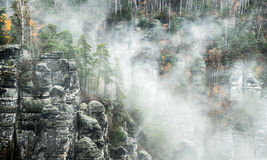 Rock formation Bastei, Germany Royalty Free Stock Photo