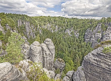 Rock formation in Bastei, Saxon Switzerland. Royalty Free Stock Photo
