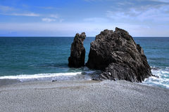 Rock Formation on Beach. Wonderful rock formation on a beach in Cinque Terre Italy Stock Image