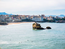 Rock Formation and beach at Biarritz, Basque Country Stock Photo