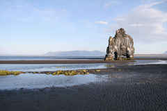 Rock formation on black beach Stock Photography