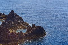 Rock formation in the blue water of Atlantic ocean. Madeira island, Portugal stock image