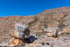 Rock formation on Bokveldskloof hiking traill to the Maltese Cross. Rock formation on the Bokveldskloof hiking trail to the Maltese Cross near Dwarsrivier in the stock photos