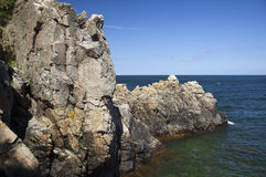 Rock formation. Bornholm, Denmark. Rock formation pointing into the sea. Bornholm, Denmark stock images